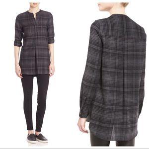Theory Orvinio Avalon Grey Plaid Wool Shirt